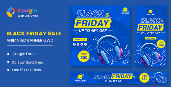 [Free Download] Black Friday Sale Headphone HTML5 Banner Ads GWD (Nulled) [Latest Version]