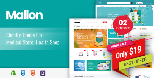 [Free Download] Mallon – Medical Store, Health Shop eCommerce Shopify Theme (Nulled) [Latest Version]