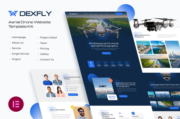 [Free Download] Dexfly   Drone & Aerial Photography Elementor Template Kit (Nulled) [Latest Version]