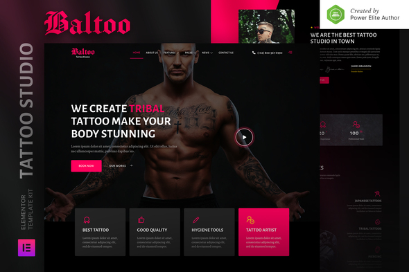 [Free Download] Baltoo – Tattoo Studio and Artist Elementor Template Kit (Nulled) [Latest Version]
