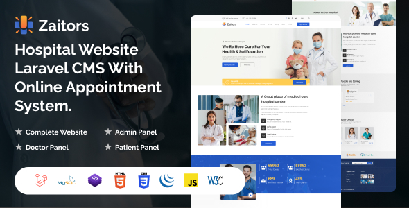 [Free Download] Zaitors – Hospital Website Laravel CMS With Online Appointment System (Nulled) [Latest Version]
