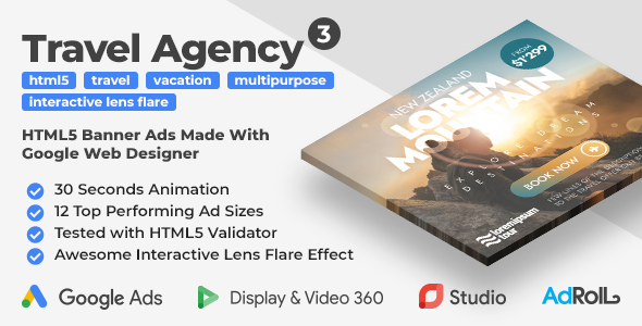 [Free Download] Travel Agency 3 – Animated HTML5 Banners With Interactive Lens Flare Effect (GWD) (Nulled) [Latest Version]