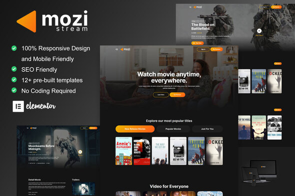 [Free Download] Mozi – Movie Streaming Service Elementor Template Kit (Nulled) [Latest Version]