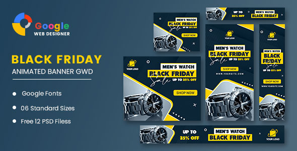 [Free Download] Men Watch Black Friday Sale HTML5 Banner Ads GWD (Nulled) [Latest Version]