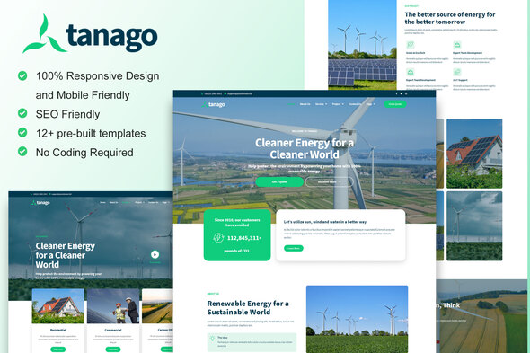 [Free Download] Tanago – Green Renewable Energy Elementor Template Kit (Nulled) [Latest Version]