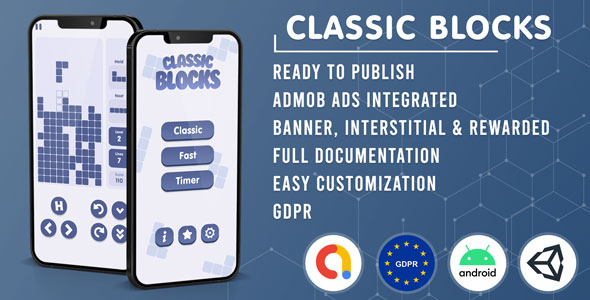 [Free Download] Classic Blocks | Tetris Clone (Admob + GDPR + Unity Game Template) (Nulled) [Latest Version]
